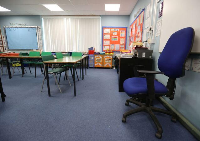 General view of an empty classroom in Staffordshire as the spread of the coronavirus disease (COVID-19) continues, in Staffordshire, Britain, March 18, 2020.