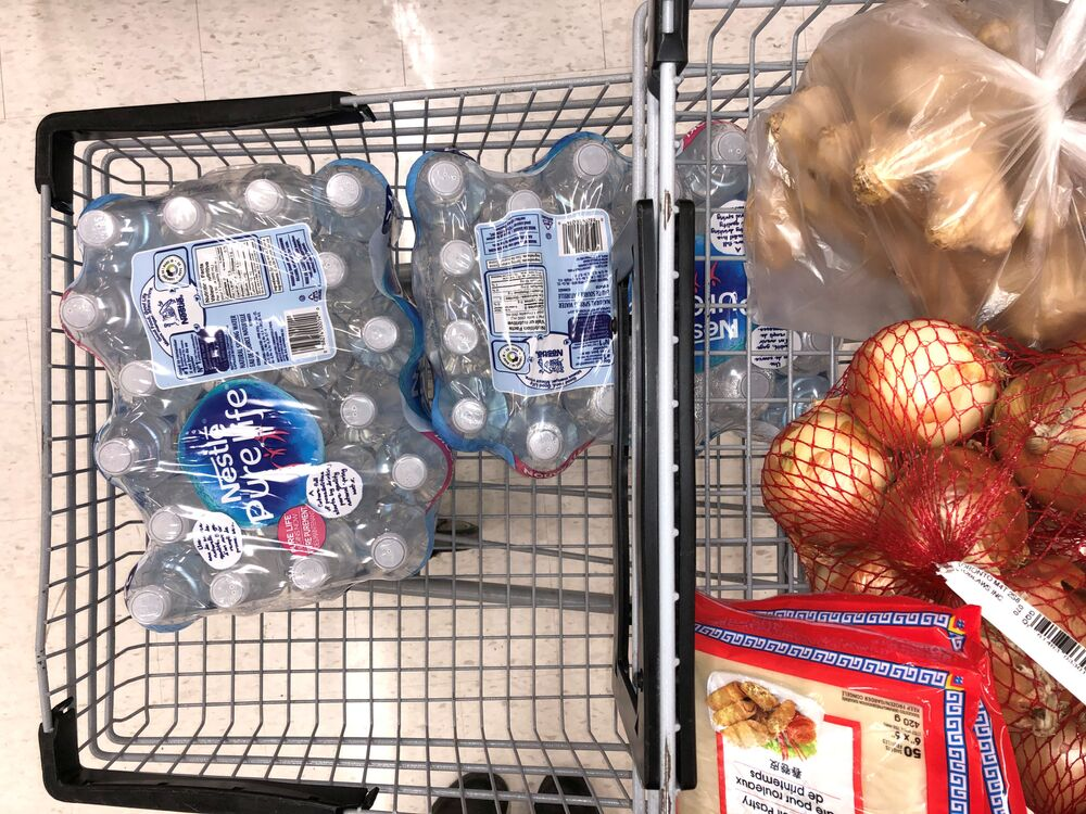 A customer's cart filled with the supplies they're purchasing in response to news about coronavirus disease (COVID-19) at Real Canadian Superstore on Leslie Road in Richmond, British Columbia, Canada