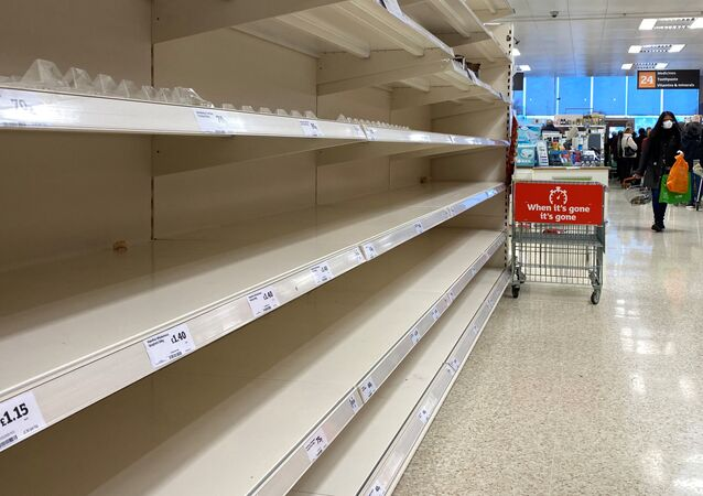 Empty shelves inside a Sainsburys supermarket in Watford as the spread of the coronavirus disease (COVID-19) continues, Watford, Britain, March 19, 2020