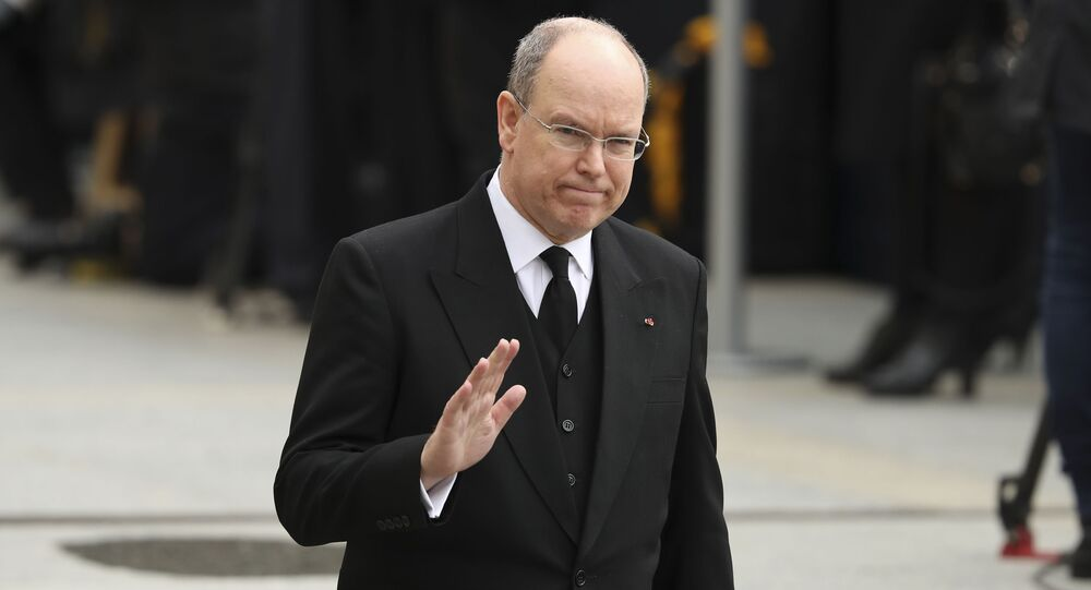 Prince Albert II of Monaco leaves the Notre Dame cathedral after attending at the funeral of the Grand Duke Jean of Luxembourg, in Luxembourg, Saturday, May 4, 2019