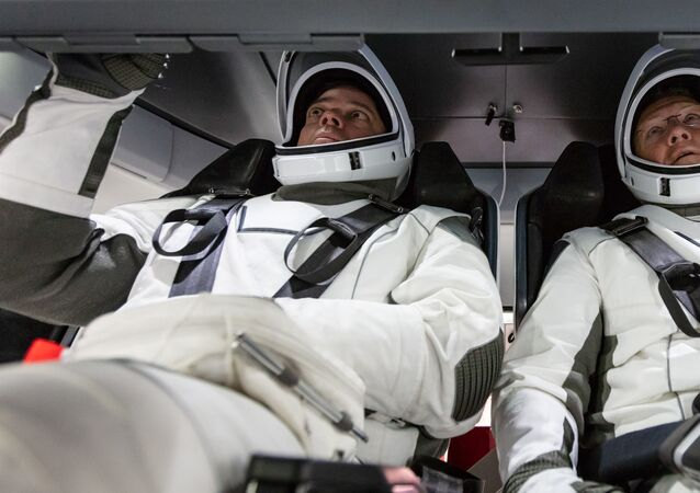 NASA astronauts Doug Hurley and Bob Behnken familiarise themselves with SpaceX's Crew Dragon, the spacecraft that will transport them to the International Space Station as part of NASA's Commercial Crew Program. Their upcoming flight test is known as Demo-2, short for Demonstration Mission 2. The Crew Dragon will launch on SpaceX's Falcon 9 rocket from Launch Complex 39A at NASA's Kennedy Space Center in Florida.
