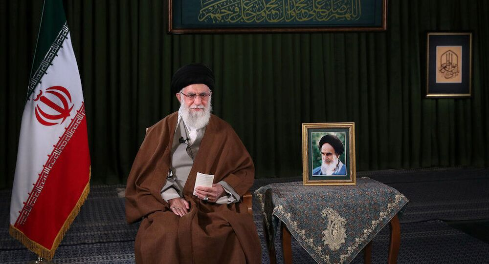 Iran's Supreme Leader Ayatollah Ali Khamenei delivers a televised speech on the occasion of the Iranian New Year Nowruz, in Tehran, Iran March 20, 2020