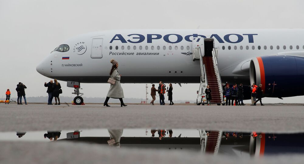 Airbus A350-900 aircraft of Russia's flagship airline Aeroflot at Sheremetyevo International Airport