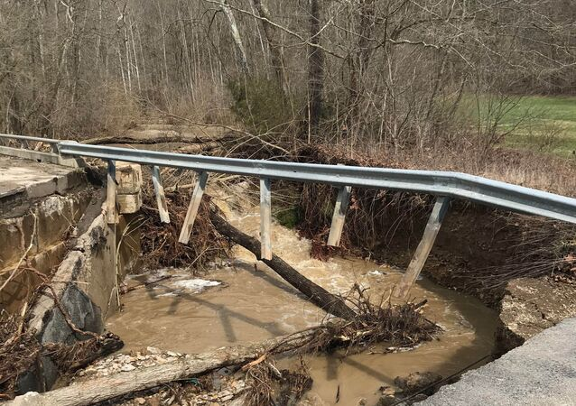 Washed out bridge along Sanes Creek in southeastern Indiana