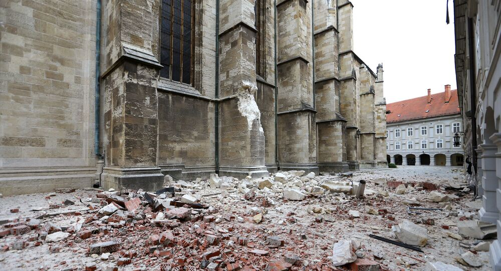 Damages on Zagreb's cathedral and debris are seen following an earthquake, in Zagreb, Croatia 22 March 2020.