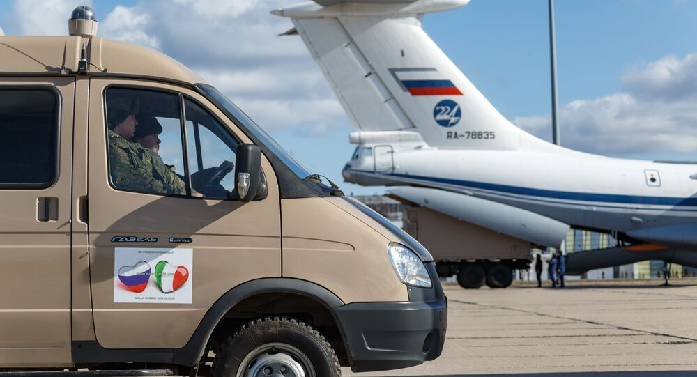 A car with medical equipment intended for shipment to Italy to combat the COVID-19 virus during loading into the military transport aircraft Il-76 MD