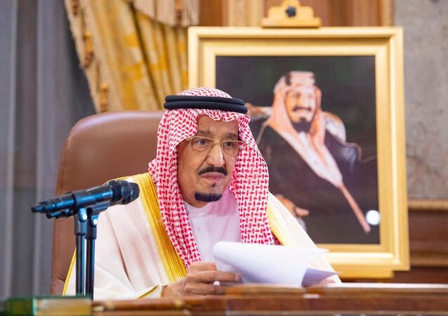 Saudi King Salman bin Abdulaziz delivers a televised speech regarding the outbreak of the coronavirus disease (COVID-19), in Riyadh, Saudi Arabia March 19, 2020