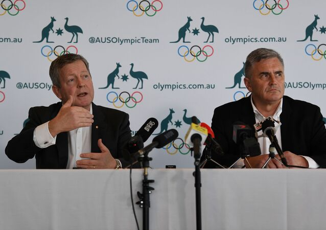 Australian Olympic Committee Chief Executive Matt Carroll (L) and Australian Team Chef de Mission for Tokyo 2020 Ian Chesterman address the media during a press conference regarding the coronavirus disease (COVID-19) in Sydney, Australia, March 19, 2020. Picture taken March 19, 2020
