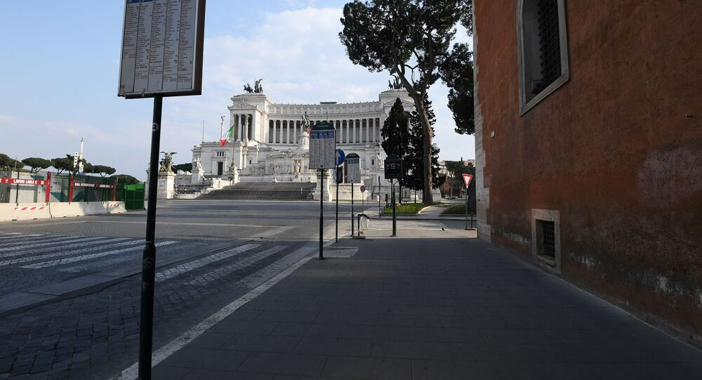 Piazza Venezia in Rome is seen deserted as Italians stay home as part of a lockdown against the spread of coronavirus disease (COVID-19) in Rome, Italy March 22, 202
