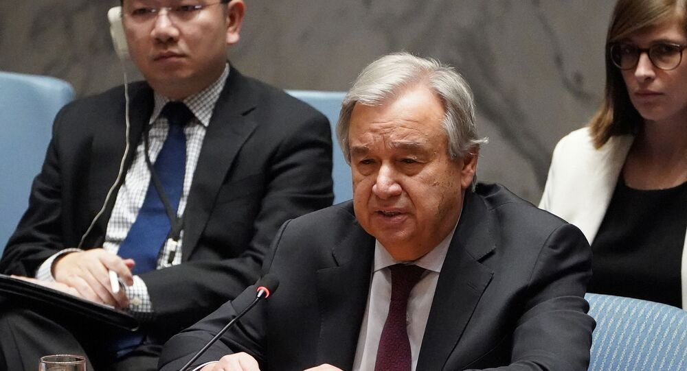 Secretary General of the United Nations Antonio Guterres speaks during a Security Council meeting about the situation in Syria at U.N. Headquarters in the Manhattan borough of New York City, New York, U.S.,  28 February, 2020