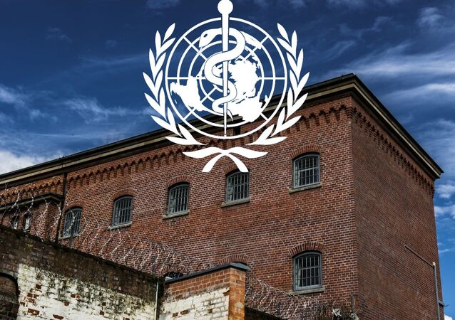 Prison in Kassel Germany with World Health Organization (WHO) logo