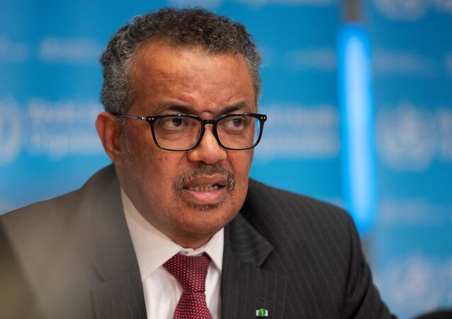 Director-General of World Health Organization (WHO) Tedros Adhanom Ghebreyesus attends a news conference on the outbreak of the coronavirus disease (COVID-19) in Geneva, Switzerland, March 16, 2020.