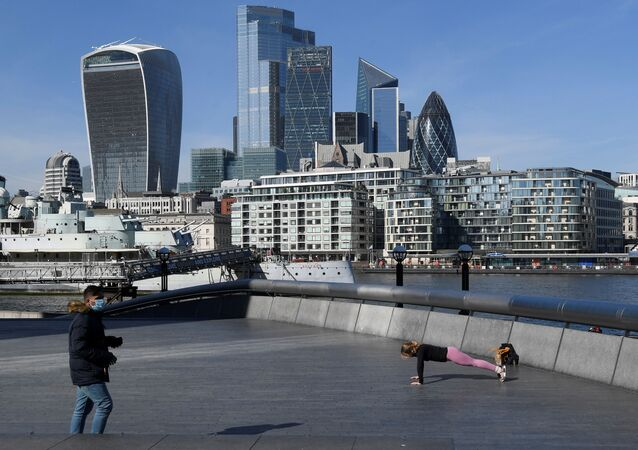A person works out with the City of London