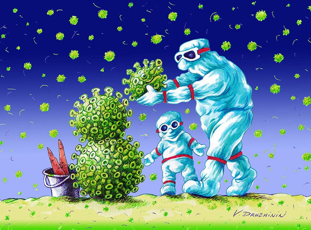 Caricature of Russian artist Valentin Druzhinin at the International Cartoon Festival on Coronavirus Battle 2020 caricature contest in Iran