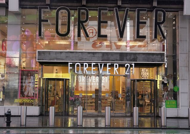 A closed Forever 21 store is pictured in Times Square following the outbreak of Coronavirus disease (COVID-19), in the Manhattan borough of New York City, New York, U.S., March 23, 2020