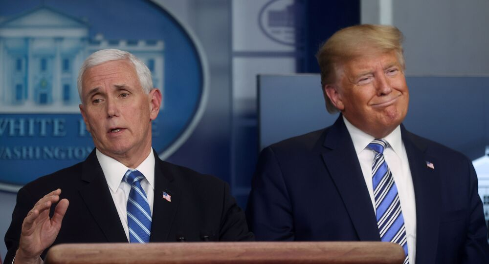 U.S. President Donald Trump, with Vice President Mike Pence, leads the daily coronavirus response briefing at the White House in Washington, U.S. March 23, 2020.