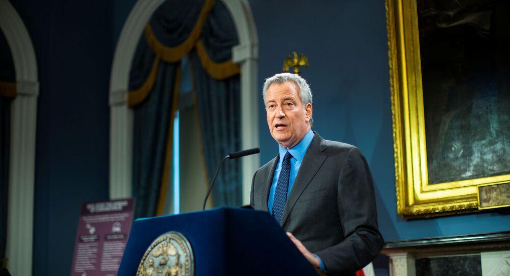 New York City Mayor Bill de Blasio speaks at a news briefing of the coronavirus disease (COVID-19) at the City Hall in the Manhattan borough of New York City, New York, U.S., March 14, 2020