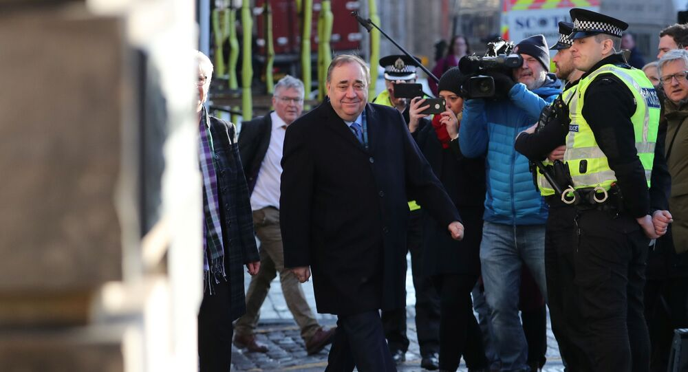 Former First Minister of Scotland Alex Salmond arrives at the High Court in Edinburgh, Scotland Britain March 9, 2020.