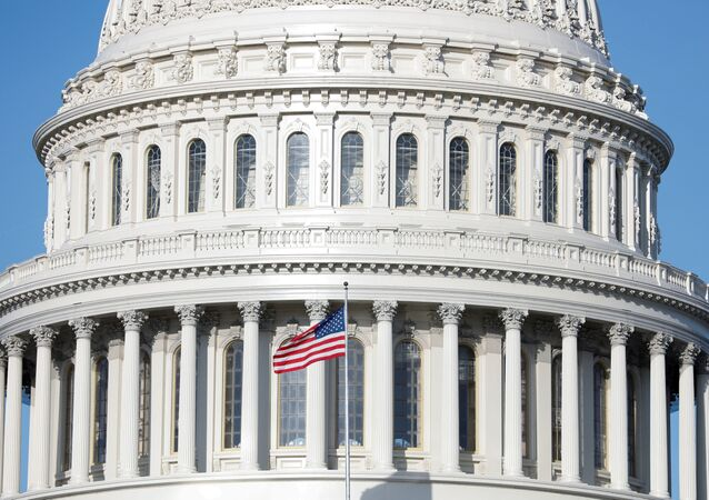 The American Flag flies at the U.S. Capitol Building, as Mayor Muriel Bowser declared a State of Emergency due to the coronavirus disease (COVID-19), on Capitol Hill in Washington, 18 March 2020.