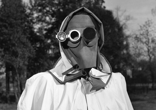 A face mask recommended by a West German federal civil defense study group as protection against radioactive fallout in Hamburg, Germany, April 24, 1957.