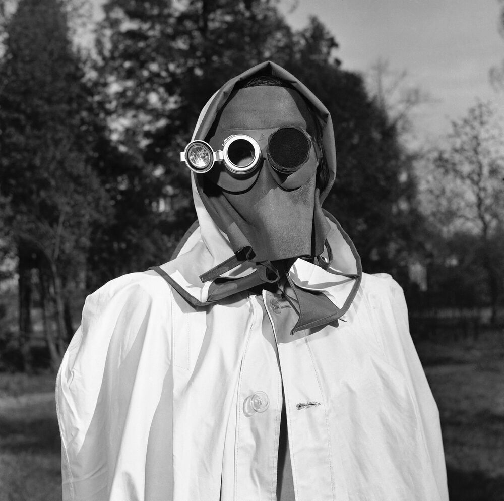 The face mask is recommended by a West German federal civil defense study group as protection against radioactive fallout in Hamburg, Germany, April 24, 1957.