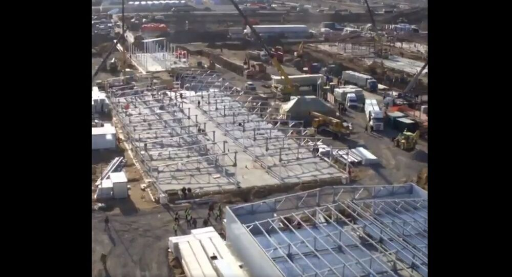 Drone footage shows construction of new coronavirus hospital in Russia