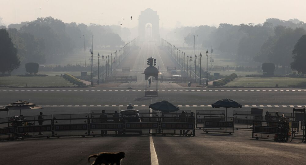 A monkey crosses the road near India's Presidential Palace during a 14-hour long curfew to limit the spreading of coronavirus disease (COVID-19) in the country, New Delhi, India,  March 22, 2020