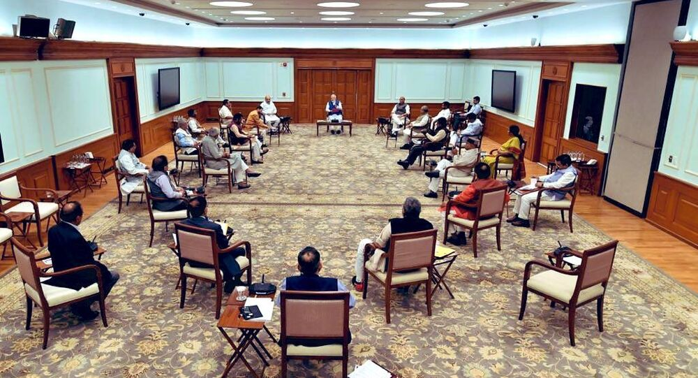 Picture from today's cabinet meeting chaired by Hon'ble PM   Narendra Modi  ji.