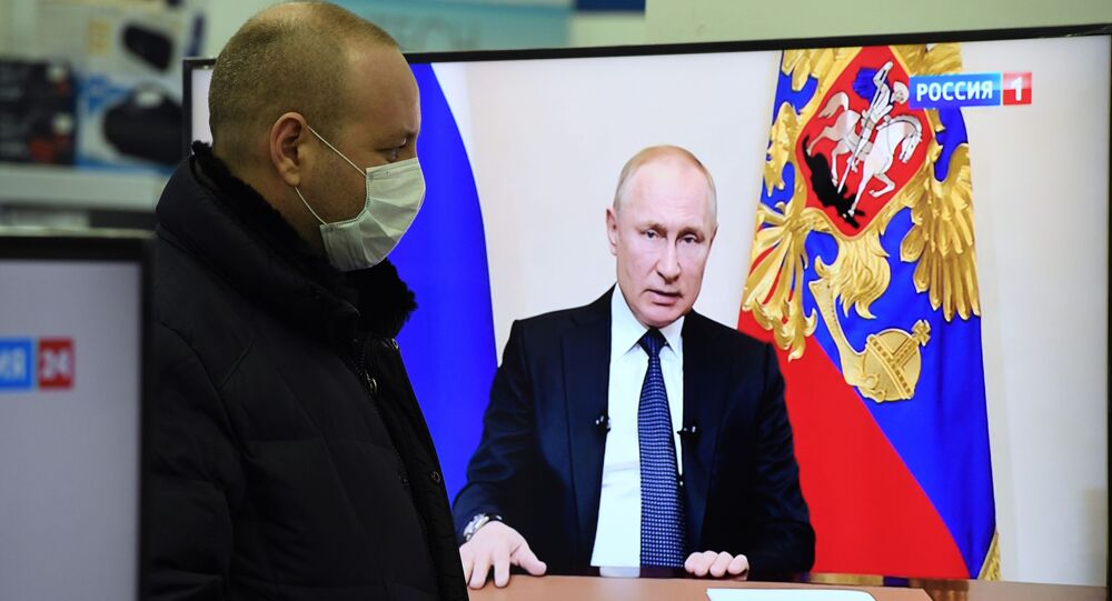 Vladimir Putin addresses the nation on additional measures on Russia's fight against the coronavirus.