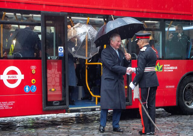 Britain's Prince Charles steps off a new electric double decker bus as he arrives to the London Transport Museum, in London, Britain March 4, 2020