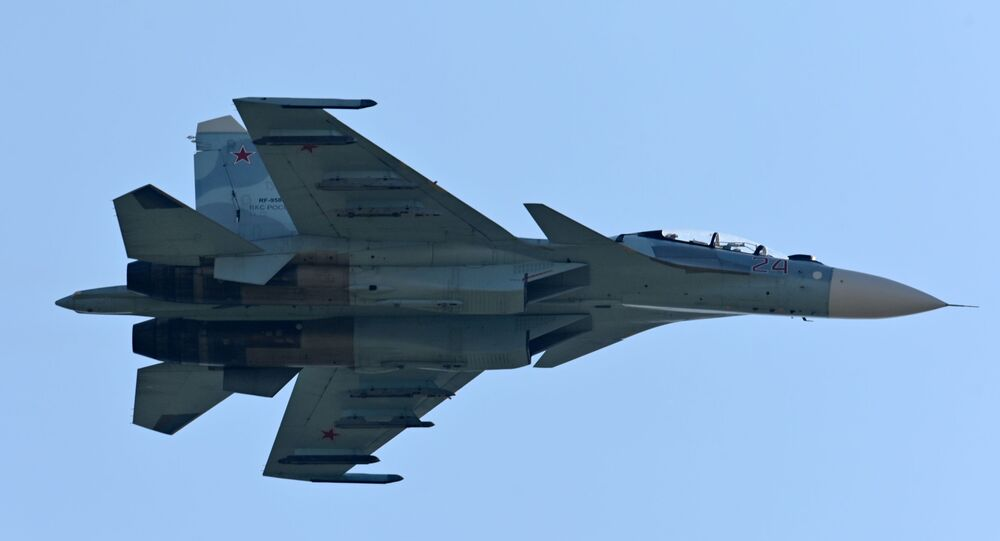 An Su-27 airplane during demonstration performances at the exhibition of weapons and military equipment in Rostov-on-Don.