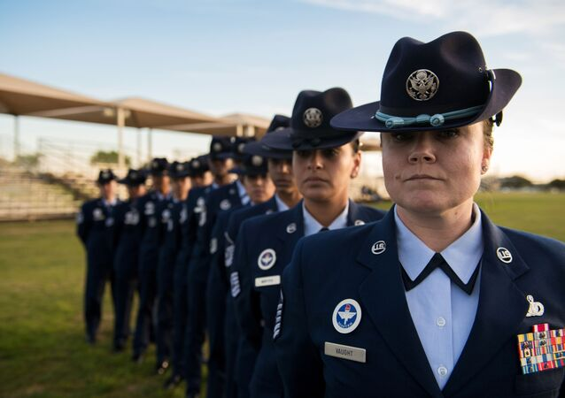 U.S. Air Force female military training instructors, 737th Training Group, pose for a photo before the basic military training graduation parade in support of Women's History Month, March 6, 2020