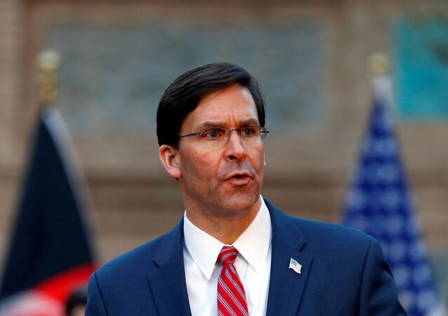 U.S. Defense Secretary Mark Esper, speaks during a joint news conference with Afghanistan's President Ashraf Ghani, and NATO Secretary General Jens Stoltenberg,(unseen) in Kabul, Afghanistan February 29, 2020.