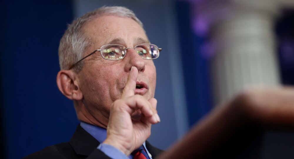 Dr. Anthony Fauci, Director of the National Institute of Allergy and Infectious Diseases, addresses the coronavirus task force daily briefing at the White House in Washington, U.S., March 25, 2020.