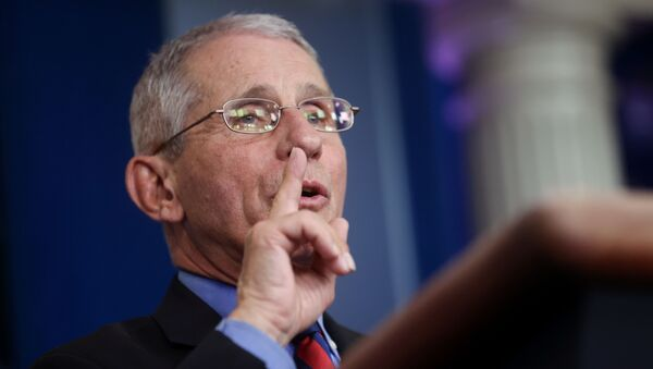 Dr. Anthony Fauci, Director of the National Institute of Allergy and Infectious Diseases, addresses the coronavirus task force daily briefing at the White House in Washington, US, 25 March 2020. - Sputnik International