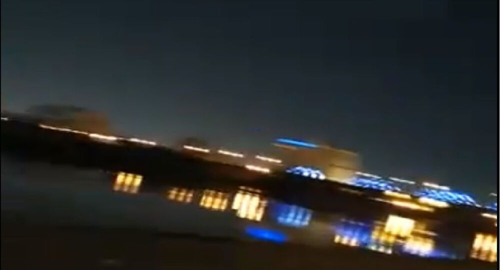 A screenshot from a video allegedly taken during a siren alert in the Green Zone, Baghdad, 26 March, 2020