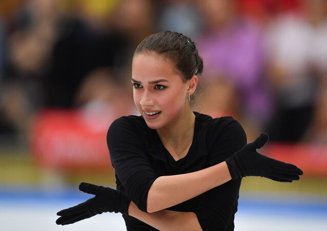 Russia's Alina Zagitova skates her free program during a training session, in Moscow, Russia