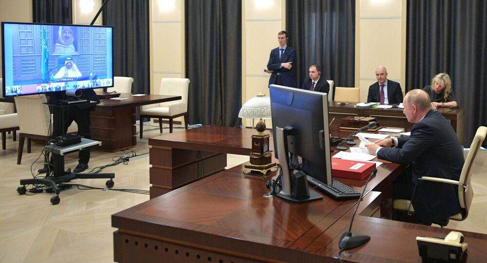 Russian President Vladimir Putin takes part in G20 emergency e-summit on the coronavirus.