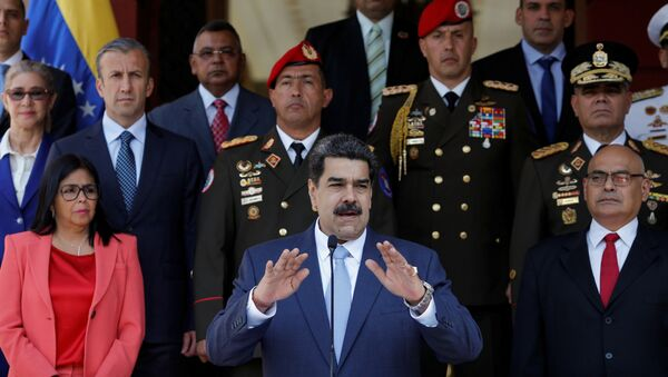 Venezuela's President Nicolas Maduro speaks during a news conference at Miraflores Palace in Caracas, Venezuela, March 12,  - Sputnik International