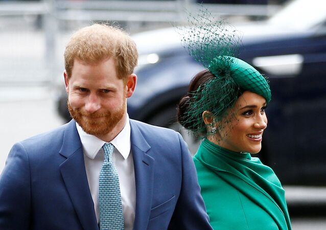Britain's Prince Harry and Meghan, Duchess of Sussex, arrive for the annual Commonwealth Service at Westminster Abbey in London, Britain March 9, 2020.