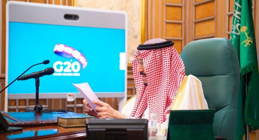 Saudi King Salman bin Abdulaziz speaks via video link during a virtual G20 summit on coronavirus disease (COVID-19), in Riyadh, Saudi Arabia March 26, 2020.