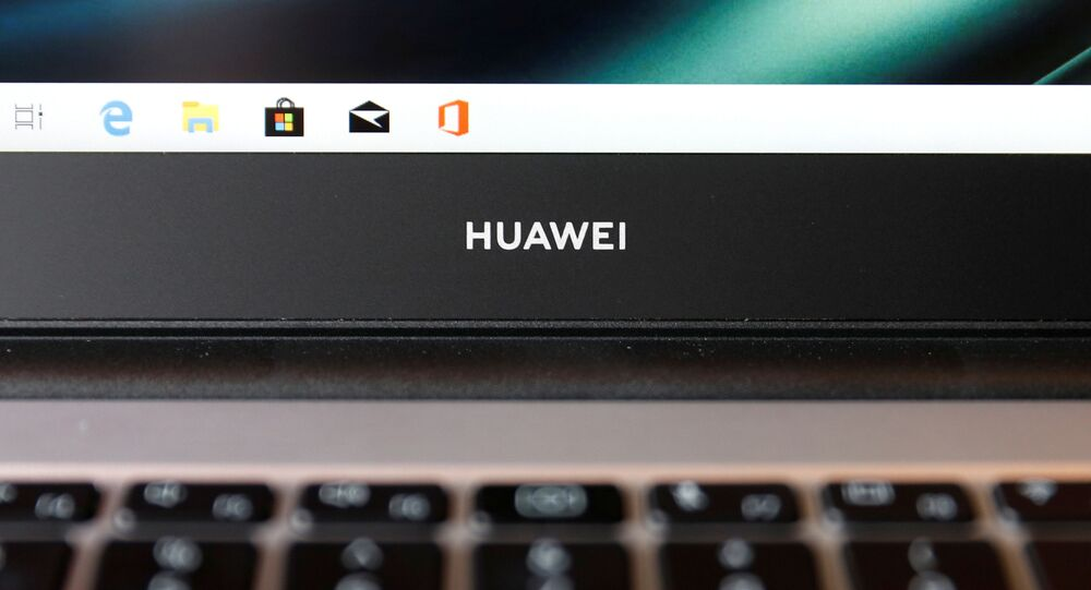 A Huawei logo is seen on a device at a media event in London, Britain, February 18, 2020. Picture taken February 18, 2020.