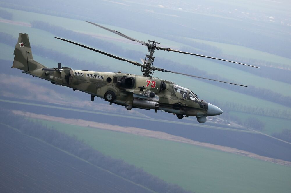 Helicopter Ka-52 Alligator during the flight tactical exercises in the Krasnodar Territory.