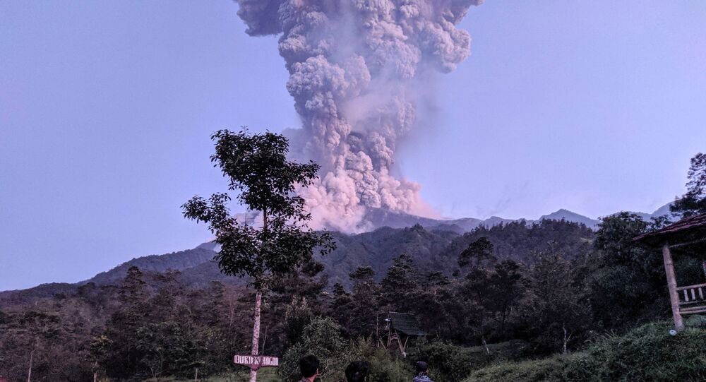 Tourists look towards Mount Merapi volcano as it erupts, at Cangkringan district in Sleman, Yogyakarta, Indonesia March 3, 2020