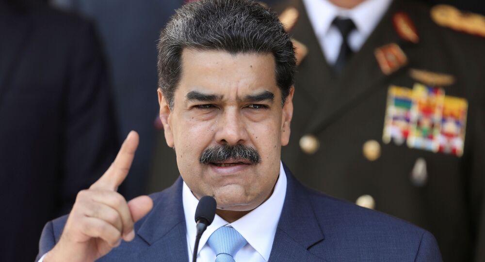 Venezuela's President Nicolas Maduro speaks during a news conference at Miraflores Palace in Caracas, Venezuela, March 12, 2020.