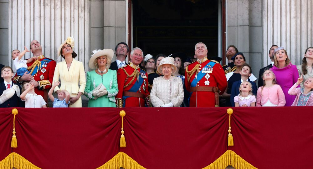 The Royal Family Watches a flypast during Trooping the Colour parade in London
