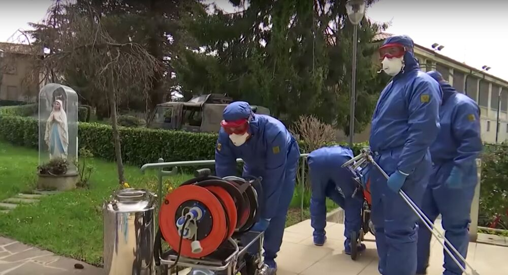 Russian military experts  prepare to carry out a complete sanitary disinfection treatment of the Martino Zanchi care home for the elderly in a suburb of Bergamo, Italy.