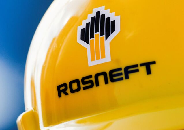 The Rosneft logo is pictured on a safety helmet in Vung Tau, Vietnam April 27, 2018