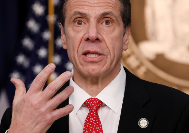 New York Governor Andrew Cuomo delivers remarks at a news conference regarding the first confirmed case of coronavirus in New York State in Manhattan borough of New York City, New York, U.S., March 2, 2020.