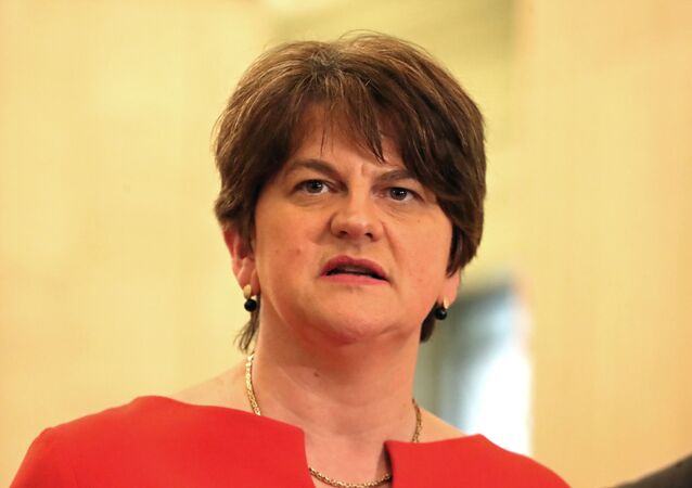First Minister Arlene Foster of the DUP speaks in the Great Hall in the Stormont Parliament Buildings in Belfast, Northern Ireland, January 13, 2020.